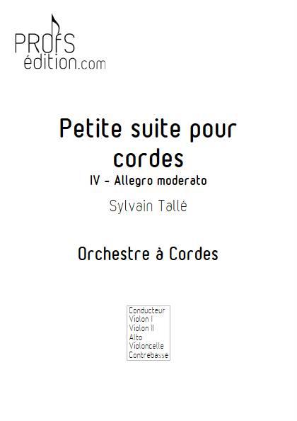 Petite suite pour cordes - 4e mvt - Orchestre à cordes - TALLE S. - page de garde