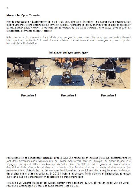 Symétrio - Trio de Percussions - PERDA R. - Fiche Pédagogique