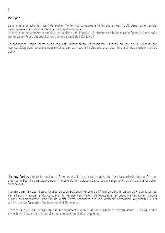 Symphonie n°1 le Titan - Ensemble Géométrie Variable - MAHLER G. - Fiche Pédagogique