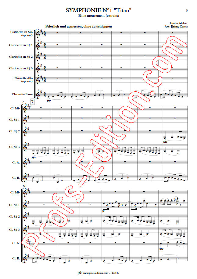 Symphonie n°1 le Titan - Quatuor Clarinettes - MAHLER G. - app.scorescoreTitle