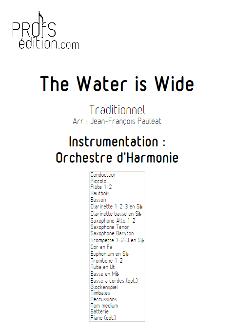 The Water is Wide - Orchestre d'Harmonie - TRADITIONNEL IRLANDAIS - page de garde