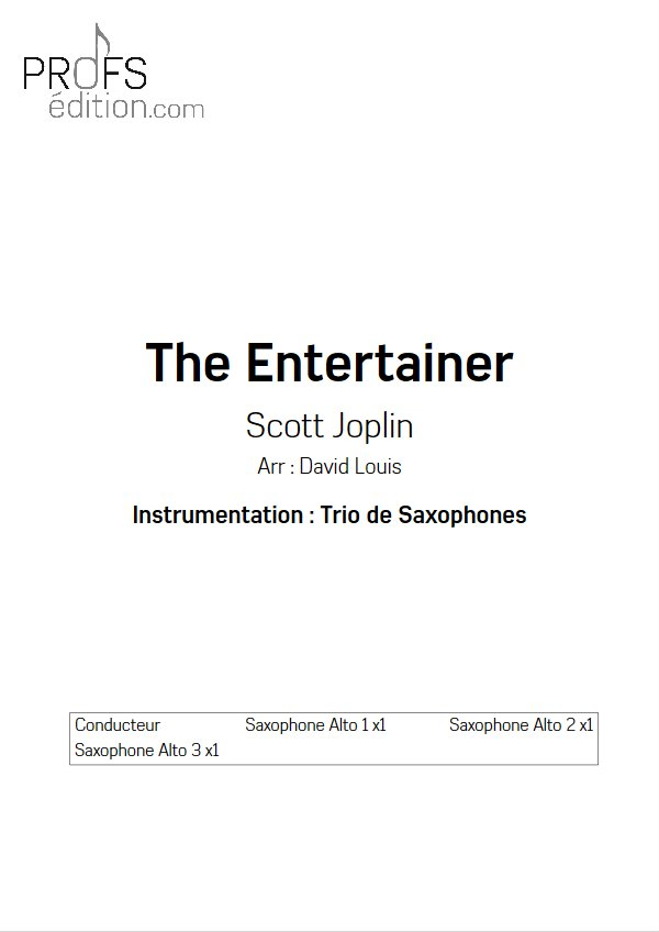 The Entertainer - Trio de Sax - JOPLIN S. - page de garde