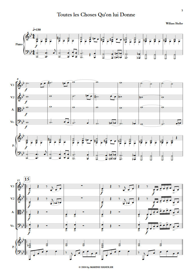 Toutes les Choses qu'on lui Donne - Chant et Quintette à Cordes - SHELLER W. - Partition