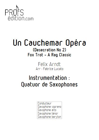 Un Cauchemar Opéra - Quatuor de Saxophones - ARNDT F. - page de garde