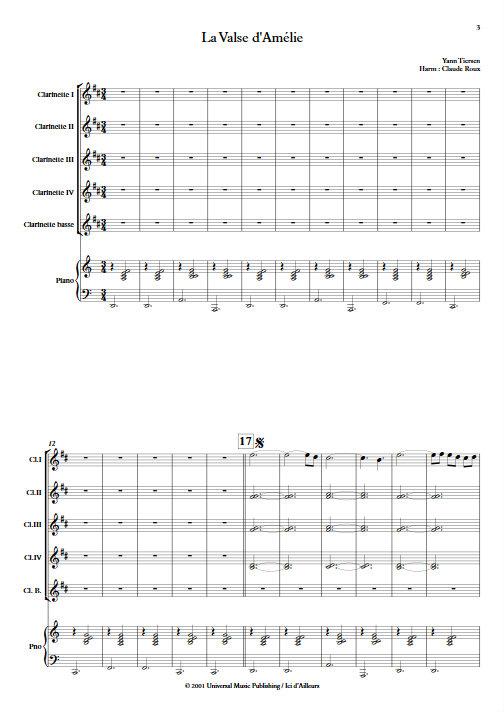 La Valse d'Amélie Poulain - Ensemble de Clarinettes - TIERSEN Yann - Partition