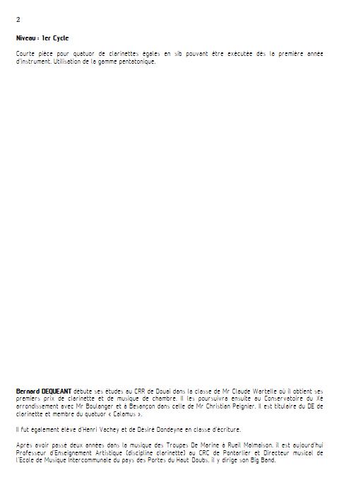 Valse Chinoise - 4 Clarinettes égales - DEQUEANT B. - Fiche Pédagogique