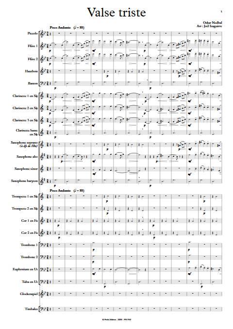 Valse triste - Orchestre d'Harmonie - NEBDAL O. - app.scorescoreTitle