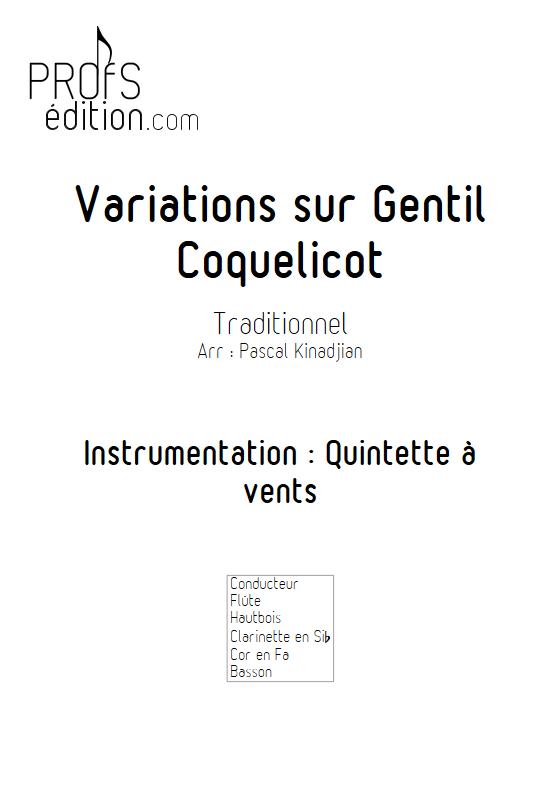 Variations sur Gentils coquelicot - Quintette à vents - KINADJIAN P. - page de garde