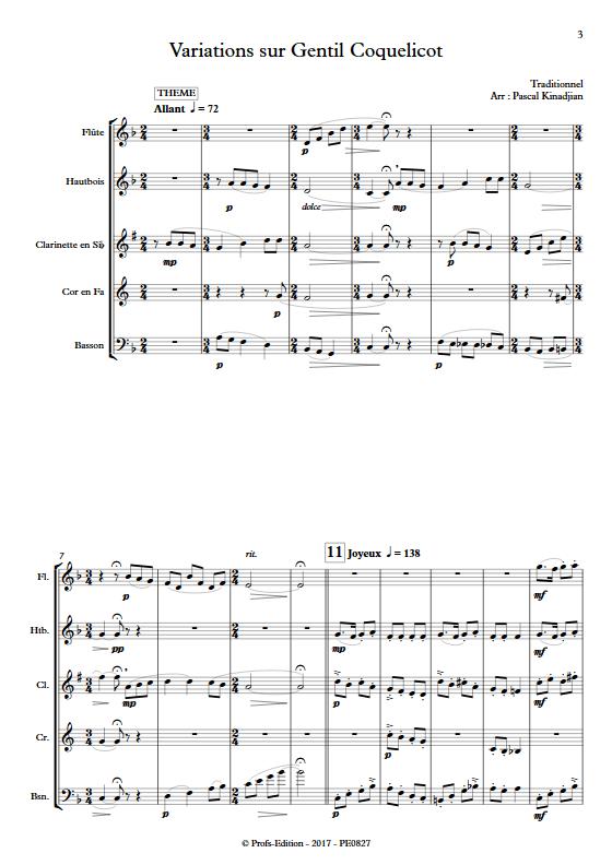 Variations sur Gentils coquelicot - Quintette à vents - KINADJIAN P. - Partition