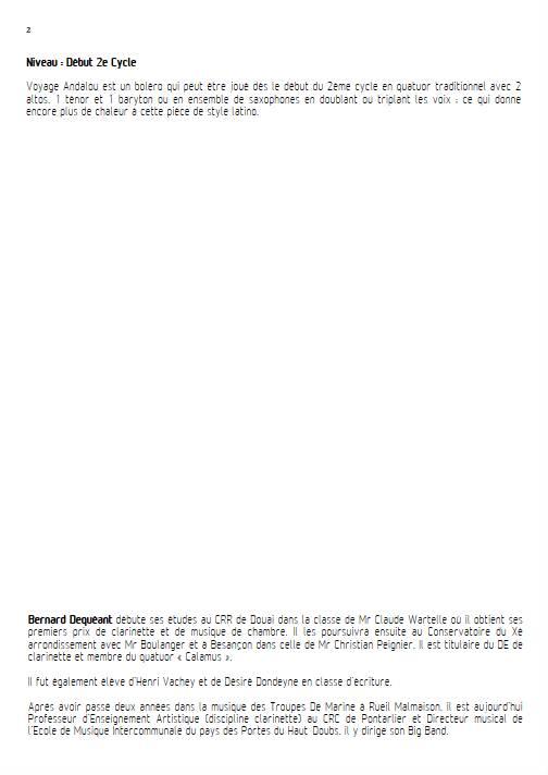 Voyage Andalou - Quatuor de Saxophones - DEQUEANT B. - Fiche Pédagogique