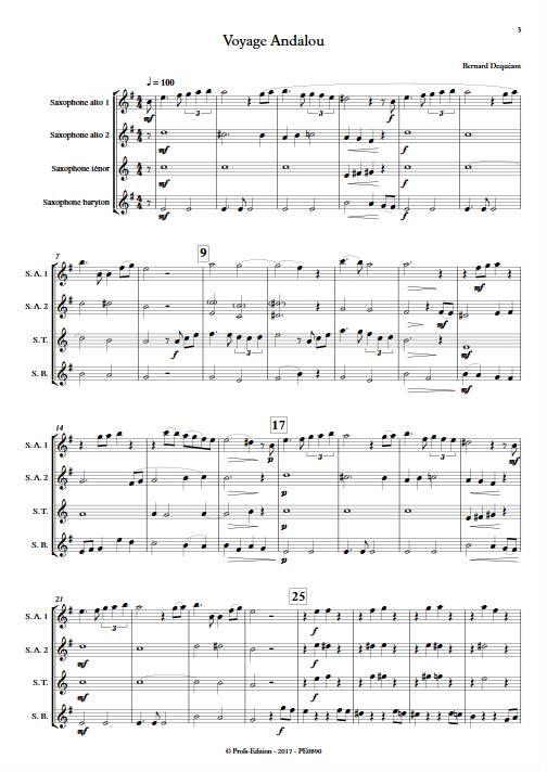 Voyage Andalou - Quatuor de Saxophones - DEQUEANT B. - Partition