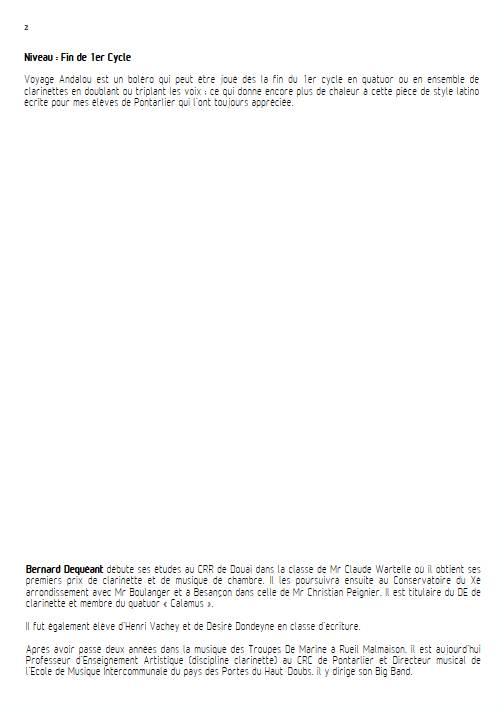 Voyage Andalou - Quatuor de Clarinettes - DEQUEANT B. - Fiche Pédagogique