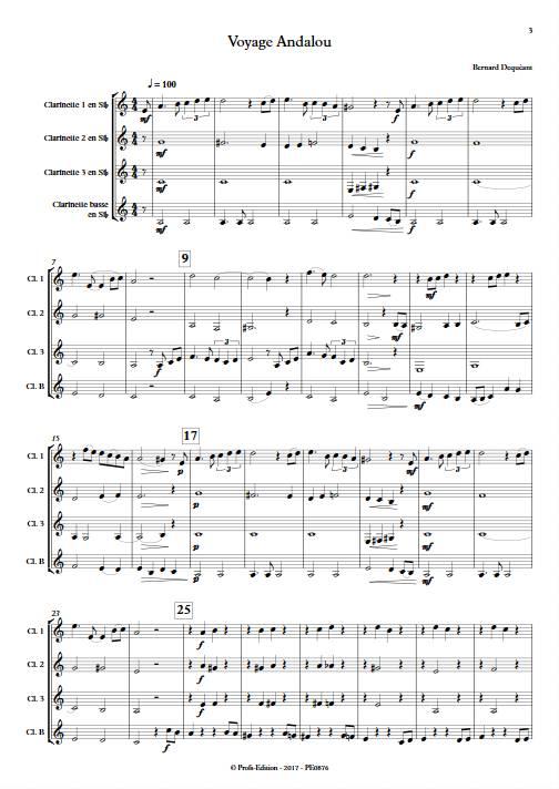 Voyage Andalou - Quatuor de Clarinettes - DEQUEANT B. - Partition
